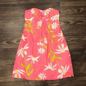 LILLY PULITZER strapless pink daisy dress